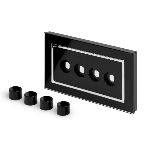 RetroTouch 4 Gang LED Dimmer Plate Black Glass CT 02111